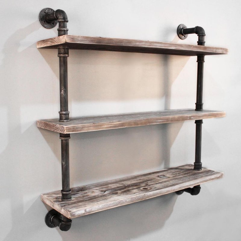 Rustic Industrial Timber & Iron Pipe Shelf